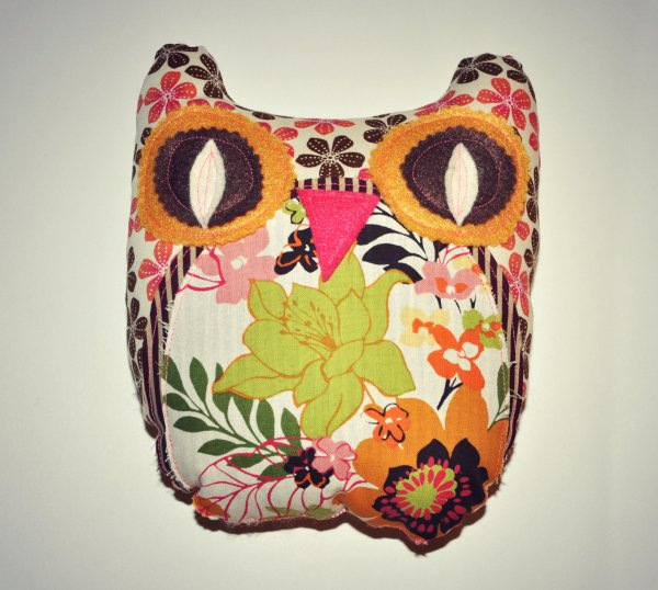 brown floral owl